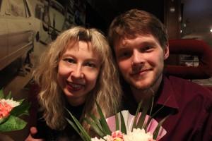 Анна Мишутина и Евгений Исаченко после премьеры спектакля «Планета детей» (май 2012 г., Минск, Беларусь)