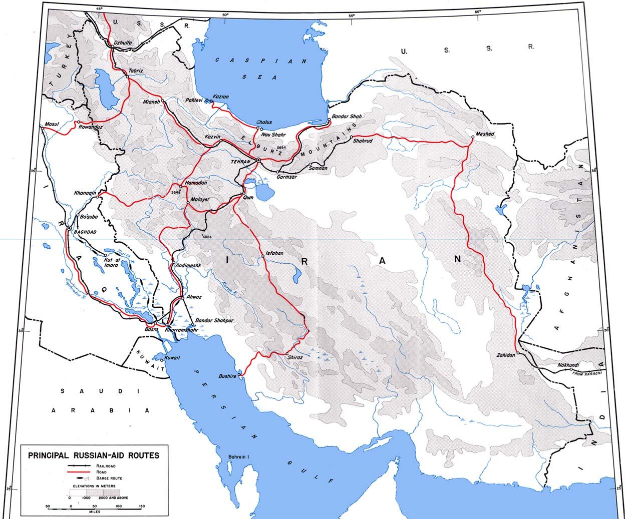 Карта основных маршрутов помощи СССР (сайт Минской школы киноискусства)
