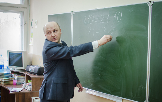 Урок матэматыкі праводзіць Міхаіл Шпілеўскі (Урок математики проводит Михаил Шпилевский)