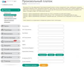 Белинвестбанк: Интернет-банк: Платежи: Произвольный платёж (незаполненная форма)