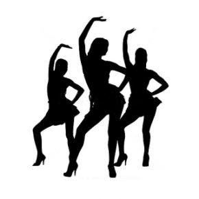 Танцевальный зал (Минск): силуэты трёх танцующих девушек