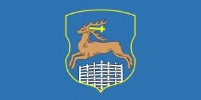 Флаг Гродно, герб Гродно (Гродненская область, Республика Беларусь): олень наголубом фоне