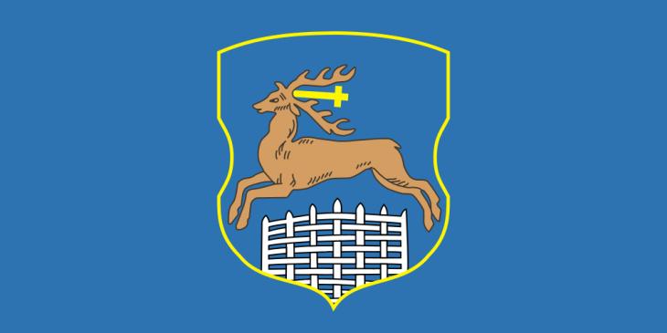 Флаг Гродно, герб Гродно (Гродненская область, Республика Беларусь): олень наголубом фоне (сайт Минской школы киноискусства)