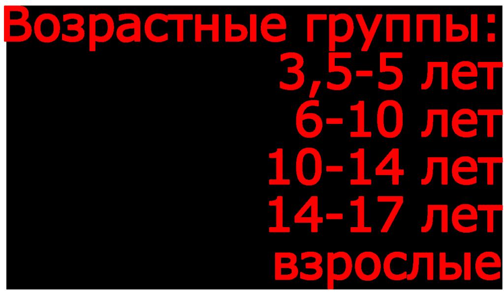 Возрастные группы (дети: 3-4-5, 6—10 лет; подростки: 10—14, 14—17 лет; взрослые). Актёрское мастерство/искусство