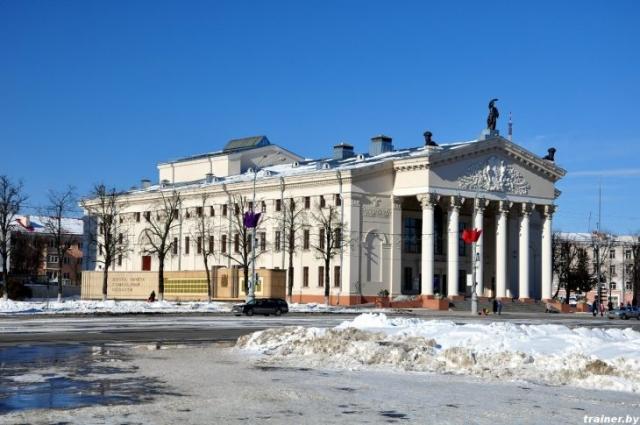 Гомельский областной драматический театр зимой (Беларусь, Гомель, площадь Ленина, 1)