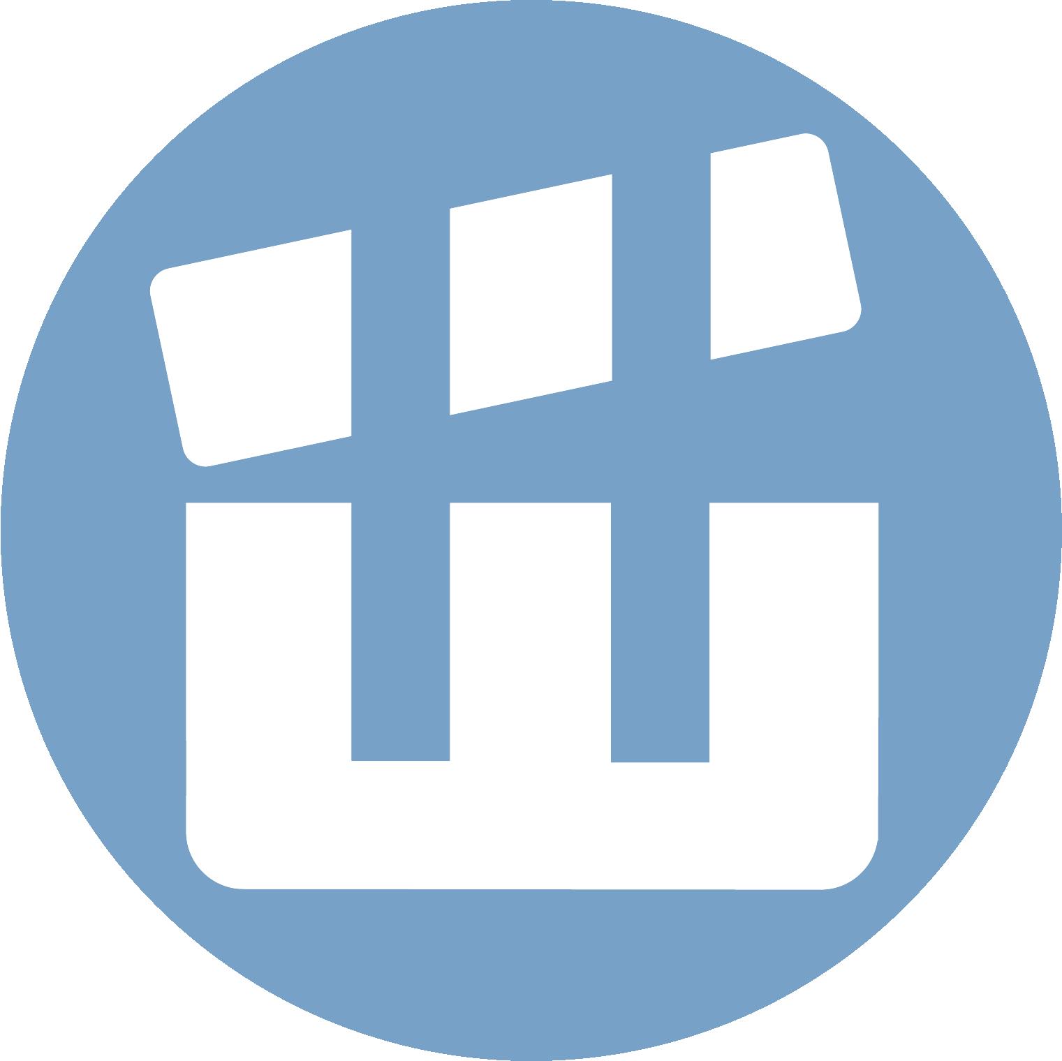 Минская школа киноискусства (эмблема-логотип: Ш-хлопушка): голубой кружок ссимволом посередине