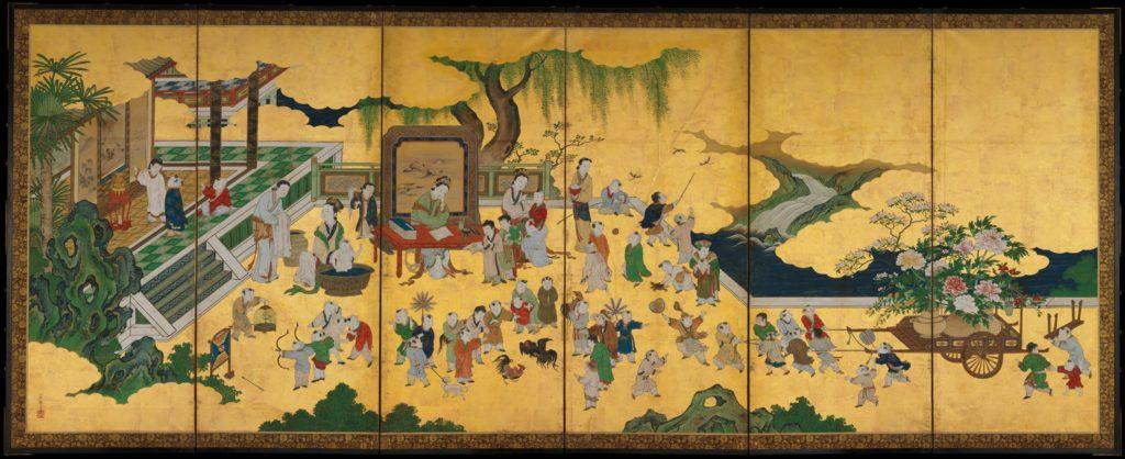 Kano Einō | One Hundred Boys | Japan | Edo period (<time><p id=