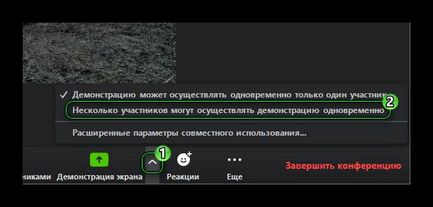 Демонстрация экрана вконференции Zoom: выбор режима «Несколько участников могут осуществлять демонстрацию одновременно» (сайт Минской школы киноискусства)