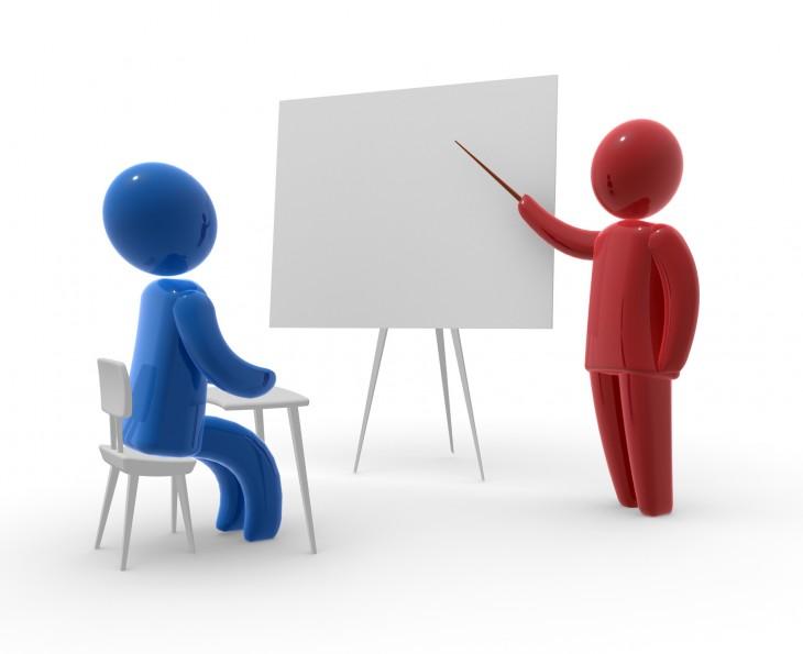 Обучение: педагог, учащийся, доска, указка
